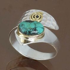 TURQUOISE 925 STERLING SILVER RING JEWELRY 4.17g DJR8746 SIZE-10 #Handmade #Ring