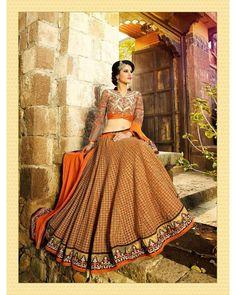 Buy Orange Embroidered Mohini Net Lehenga at happydeal18.com, India's biggest shopping store