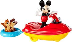 """Mickey Mouse is riding the waves and Chip 'n Dale are """"tubing"""" along! This 3-inch Mickey figure can stand in a jet-ski vehicle that you can push along. Attached to the back of Mickey's jet-ski is an inner tube with a removable Chip 'n Dale figure riding inside. The tube sways from side to side as you roll the vehicle forward. This fun vehicle figure set includes four play pieces: Mickey figure, Chip 'n Dale figure, Mickey jet-ski  