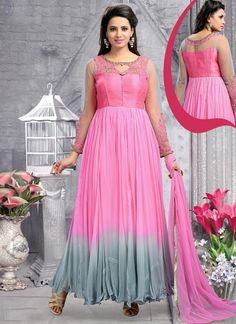 Be the dazzling diva clad in such a pink georgette anarkali salwar kameez with exquisite designs and patterns. The resham and stone work appears chic and perfect for wedding and festival. Comes with m...