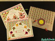 cute kitch wedding invites (reception + sangeet)