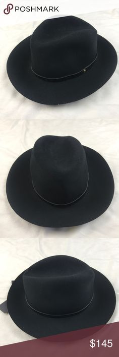 Rag & Bone Black Floppy Brin Fedora Size Large Rag & Bone Floppy Brim Fedora in black. Felted wool fedora styled at brim with a black leather band. Crown dent, aged brasstone stud at leather band. Interior sweatband. 100% wool. rag & bone Accessories Hats