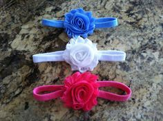 Set of 3 shabby chiffon flower headbands. $9