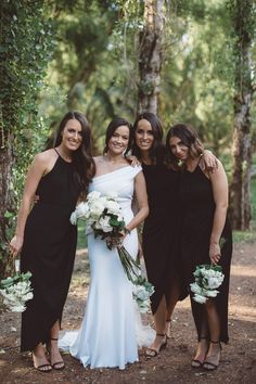 Real wedding - Jayde and Brock, Ballarat VIC - Ivory Tribe Black Bridesmaid Dresses, Wedding Dresses, Black Bridesmaids, Rustic Italian Wedding, Sarah Black, Jpg, Flower Dresses, Party Fashion, Real Weddings