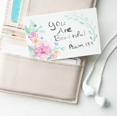 Watercolor Inspirational Wallet Card by BeautifulThingsByBec