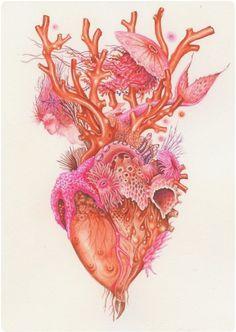 Anatomical heart illustration by Wendy Wallin Malinow, gouache, coral corazon, Ocean Tattoos, Mermaid Tattoos, Turtle Tattoos, Tribal Tattoos, Art And Illustration, Frida Art, Kunst Tattoos, Symbol Tattoos, Anatomy Art