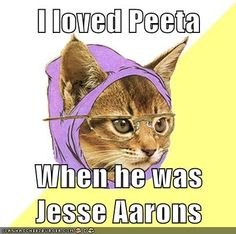 Hipster kitty! Josh Hutcherson in Bridge to Terabithia. :) but that movie is just messed up i cried like.... the whole.. time..