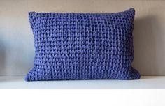 Purple tunisian crocheted pillow. €40,00, via Etsy.