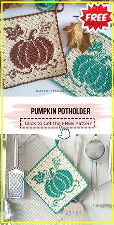 Thanksgiving Crochet, Crochet Fall, Holiday Crochet, Halloween Crochet, Tapestry Crochet Patterns, Crochet Motif, Free Crochet Potholder Patterns, Crochet Pumpkin Pattern, Crochet Crafts