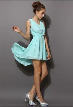 Asymmetric Waterfall Dress in Mint Blue