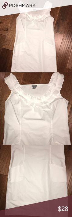 Ann Taylor 🖤 Shift Dress Crispy white Ann Taylor shift dress with ruffled neckline and front pockets. Knee length in great condition. Ann Taylor Dresses Midi