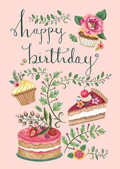 Happy Birthday Greetings Friends, Happy Birthday Art, Birthday Blessings, Happy Birthday Pictures, Birthday Messages, Birthday Greeting Cards, Birthday Quotes, Vintage Birthday Cards, Happy B Day