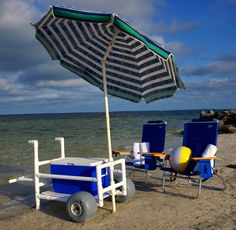 Ed could easily make this. Love the umbrella - don't have to put it in the sand! 13 x 5 pneumatic tires (type used here) are at Harbour Freight for $15/ea