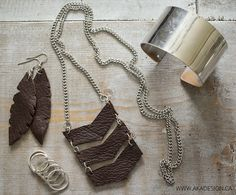 DIY Leather Chevron Necklace and Feather Earrings designed by MichaelsMakers AKA Design
