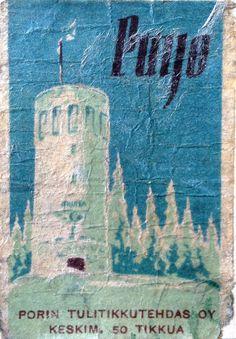 vanha tulitikkuaskin etiketti. teksti: puijo. kuvassa on sinisävyinen piirroskuva puijon otrnista.