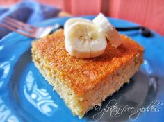 Tender, gluten-free banana polenta cake. Perfect with afternoon tea.
