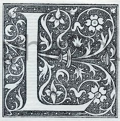 French Letter L Illuminated Lettering Ornate
