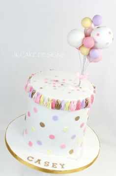 Balloons and polka dots cake