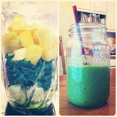 1 mango, 2 cups pineapple, 2 cups kale, 1/4 avocado, 1 banana, 2 small kiwis. Via Our Time to Change