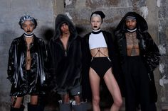NEW YORK, NY - FEBRUARY 12:  Models pose backstage at the FENTY PUMA by Rihanna AW16 Collection during Fall 2016 New York Fashion Week at 23 Wall Street on February 12, 2016 in New York City.  (Photo by Jamie McCarthy/Getty Images for FENTY PUMA)