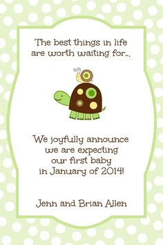 Pregnancy Announcement wit turtle and snail.