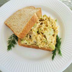 Curried Chicken Salad with Greek Yogurt Yogurt Curry Chicken, Greek Yogurt Chicken Salad, Greek Yogurt Recipes, Chicken Curry Salad, Chicken Salad Recipes, Lunch Recipes, Cooking Recipes, Healthy Recipes, Sandwich Recipes