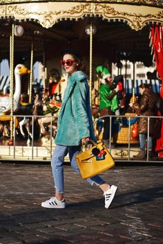 Mint faux fur coat, light was step hem jeans, burger graphic tee, printed t-shirt, bag pom pom charms, yellow hermes kelly bag, adidas superstar white sneakers, zara newsboy cap, mango, red sunglasses, andreea birsan, couturezilla, pastel outfit, casual z