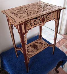 Asti table, scroll saw fretwork pattern