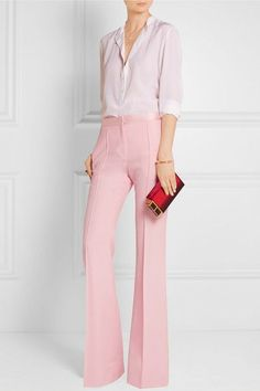 Baby-pink grain de poudre wool Concealed button, hook and zip fastening at front wool; lining: viscose Dry clean Designer color: Rose Made in France Fashion Mode, Office Fashion, Work Fashion, Fashion Outfits, Latest Fashion, Fashion Trends, Pink Pants Outfit, Pink Dress, Mode Cool