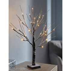 Pre-Lit LED Twig Christmas Tree with Snow Effect Decoration, 2 ft/60 cm - Brown/Warm White