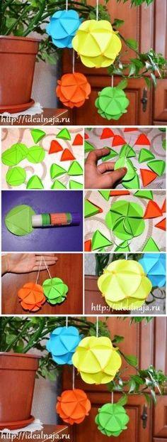 DIY Paper Ball de ornamento de DIY Proyectos