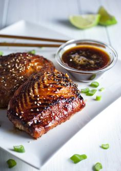 Miso Honey Salmon - Tiffani Thiessen. Bake at 400 degrees for 15 mins, then broil for about 2-3 mins.