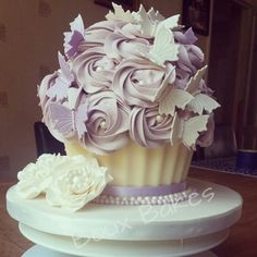 Purple giant cupcakes as wedding cakes Things Ive made