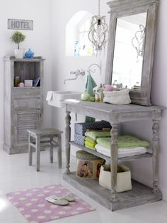 Grey Mirror and table for shelves...lovely look in a bathroom, cozy