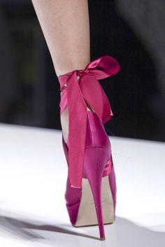 Pink Satin Bow Heels #Shoes #Runway