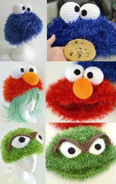 Free Sesame Street hat crochet patterns, including Oscar the Grouch, Elmo, and Cookie Monster! Created with eyelash yarn for that fuzzy texture. Fun and colorful to work up! Crochet Kids Hats, Crochet Beanie, Crochet Crafts, Easy Crochet, Crochet Baby, Crochet Projects, Free Crochet, Knitted Hats, Monster Hat