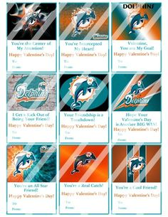Miami Dolphins Printable Digital Personalized Valentines Day Cards #2