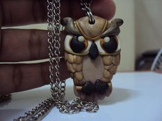 owl necklace made from polymer clay... my hobby  ..:)
