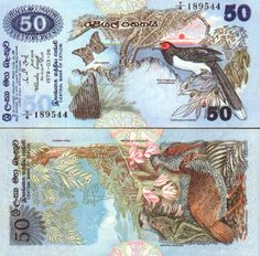 Sri Lanka  50 Rupees 26.3.1979 (birds; butterfly; lizard)