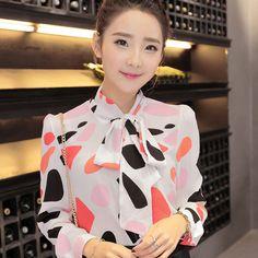New Work Wear Office Shirt Women Tops Yellow Floral Bow Tie Pattern Geometric Print Blouse Women Clothing Autumn T65628R