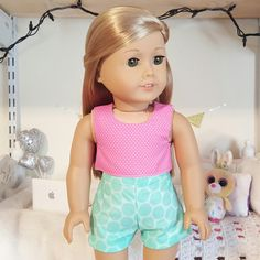 american girl doll polka crop top and shorts by SewCuteForever