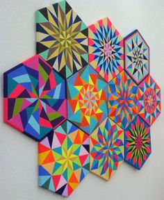 "Been into Kristin Farr's colorful diamond patterns for a minute now. Farr's work, which falls under many categories (painting, sculpture, crafts, music videos, animation), deals in themes of ""nostalgia, humor, comfort, and folk magic"" (she hipped me to Pennsylva"