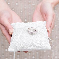 Ceremony Trends: Beyond The Traditional Wedding Ring Pillow. This tiny and intricate ring pillow is perfect to carry your rings down the aisle! Wedding Ring Cushion, Cushion Ring, Wedding Pillows, Ring Bearer Pillows, Ring Pillows, Traditional Wedding Rings, Beaded Rings, Beaded Lace, Beaded Flowers