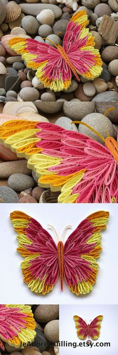 Butterfly Pink Yellow Colorful Bright Gift Christmas Wedding Mothers Valentines Day Home Decoration Idea Paper Quilling Quilled Handmade Art