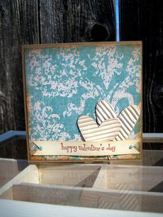 Valentines day card. hearts are made using starbucks coffee sleeve #starbucks #valentines day #cardmaking #crafting
