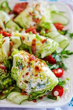 Wedge Salad with Buttermilk Ranch Dressing is crispy and delicious. It is the perfect spring salad recipe with endless topping options. recipes Wedge Salad with Buttermilk Ranch Dressing - Chips & Pepper Wedge Salad Recipes, Chicken Salad Recipes, Cooking Recipes, Healthy Recipes, Carrot Recipes, Lentil Recipes, Spinach Recipes, Ham Recipes, Oven Recipes
