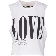 THE LAUNDRY ROOM Crop Trasher Love White Jersey t-shirt with print (120 CAD) ❤ liked on Polyvore featuring tops, shirts, crop tops, tank tops, blusas, white crop shirt, loose crop tank, muscle t shirts, beach shirts and white crop tank