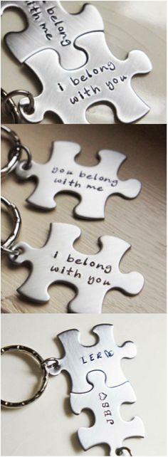 Two personalized puzzle keychains, perfect for couples and best friends. You can personalize these with your initials, name, or a short phrase. These make a great anniversary, engagement, or birthday gift, and they're a wonderful Christmas stocking stuffer that's bound to delight! | Made on Hatch.co