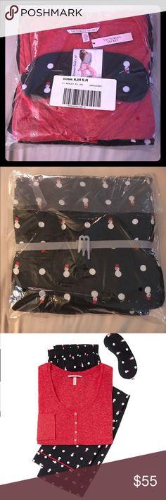Victoria's Secret pajamas set with eye mask The Dreamer Henley Pajamas Set. Size S/ Regular. $54.50 Trade Value! (Black Cherry/ Black Snowman) Victoria's Secret Intimates & Sleepwear Pajamas