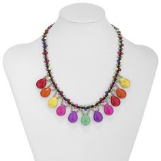 Cotton Rope Beaded Turquoise Teardrop Necklace Multicolor